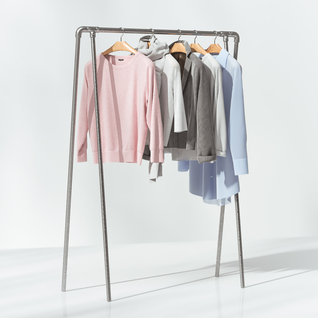 Woman cloths on hanger 3d model