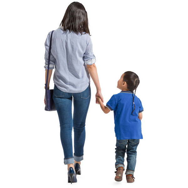 Asian woman walking with child cut out