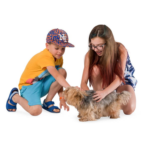 Kids playing with dog cut out