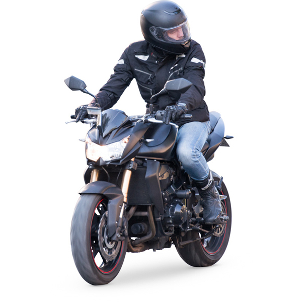 Man riding sport motorcycle cut out