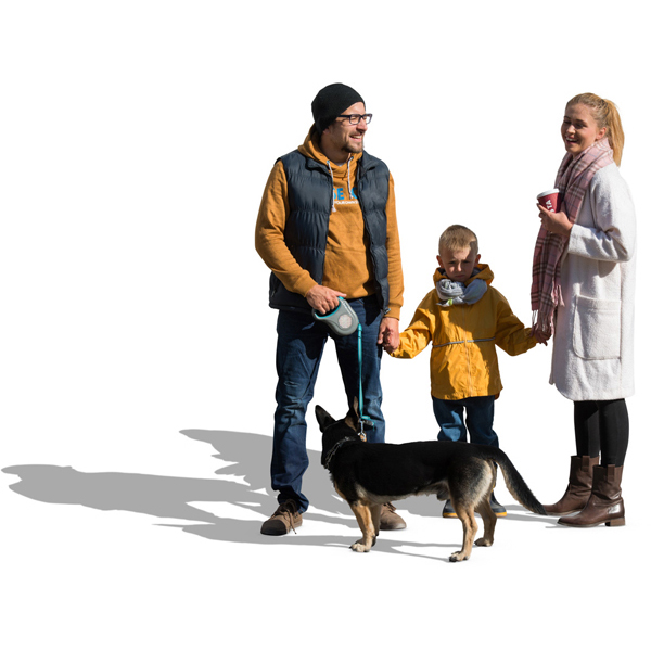 Couple with child and dog cut out