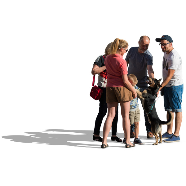 Family standing with dog cut out